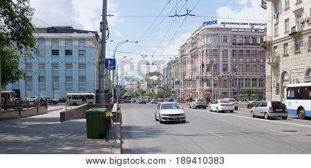 Rostov-on-Don Russia - May 272017:On Bolshaya Sadovaya Street moving cars and pedestrians go