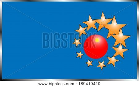 Vector illustration of a rectangular fictitious flag with a blue cloth in a metal frame on which is located a symbol in the form of a red ball with a yellow star and stars with an orange gradient around a different size.