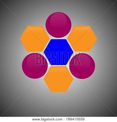 Vector illustration of an abstract scientific symbol consisting of three circles of crimson color with highlights and hexagons of orange and blue on a gray gradient background.