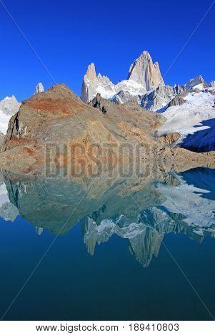Beautiful reflection of Mt Fitz Roy, Laguna de Los Tres in Los Glaciares National Park, Patagonia, Argentina, South America