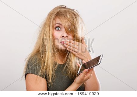 Crazy Young Woman Talking On Phone