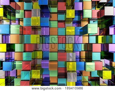 Abstract Color Cubes Background 3D Illustration