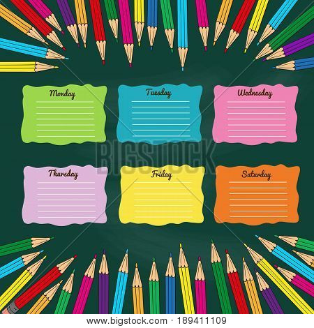 School timetable with multicolored pencils. Vector illustration.