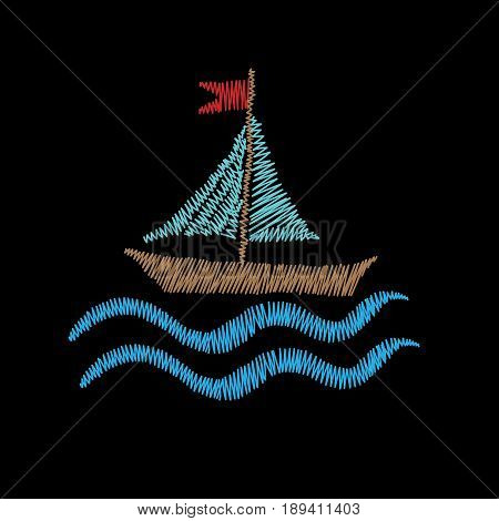 Boat embroidery stitches imitation isolated on the black background. Design colorful element for logo label emblem sign poster t-shirt print. Vector embroidery illustration.