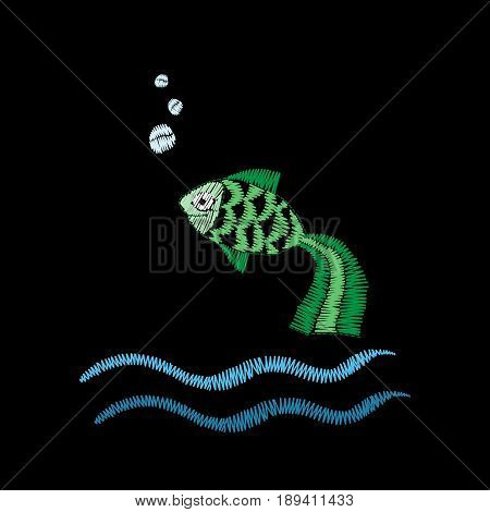 Little green fish embroidery stitches imitation isolated on the black background. Embroidery fish with wave for logo label emblem sign poster t-shirt print. Vector embroidery illustration.