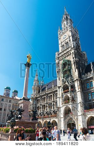 Munich, Germany - June 7, 2016: Tower of the New Town Hall - Neues Rathaus. Marienplatz, Munich, Bavaria, Germany