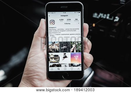 CHIANG MAI THAILAND - May 28 2017: A woman holds Apple iPhone 6S with Instagram application on the screen. Instagram is a photo-sharing app for smartphones.