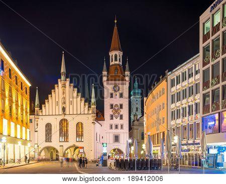 Munich, Germany - June 7, 2016: Night view of the Marienplatz in the Munich, Bavaria, Germany