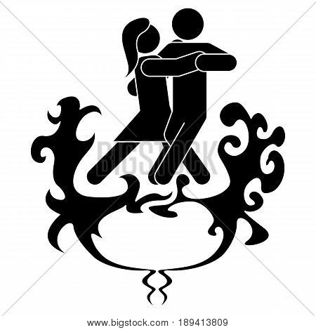 A man and a woman are dancing tango. The woman reflects fire and pressure, the man water and tranquility, pacifies the fire.