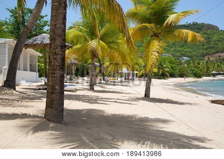 Antigua, Caribbean islands, English Harbour - May 20, 2017:  Freeman's bay view with holidays houses