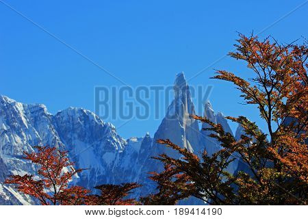 Cerro Torre mountain in autumn colors. Los Glaciares National park, Patagonia, Argentina, close front in focus
