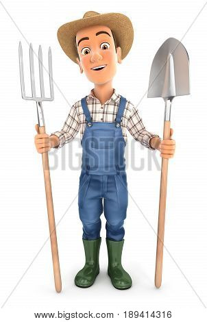 3d farmer with shovel and fork illustration with isolated white background