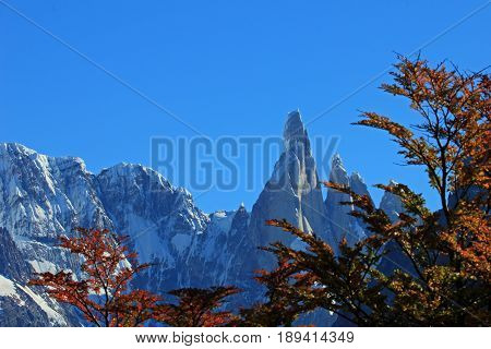 Cerro Torre mountain in autumn colors. Los Glaciares National park, Patagonia, Argentina, background mountain in focus
