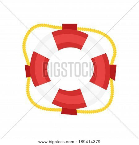 Vector simple cartoon style Lifebuoy. Icon for web. Isolated on white background.