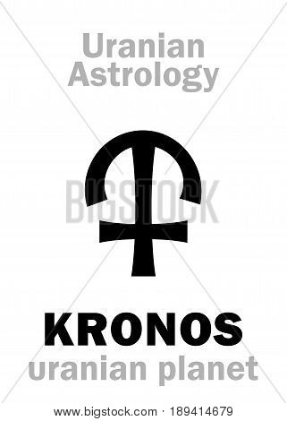 Astrology Alphabet: KRONOS (Chronos), Uranian planet (trans-neptunian point). Hieroglyphics character sign (single symbol).
