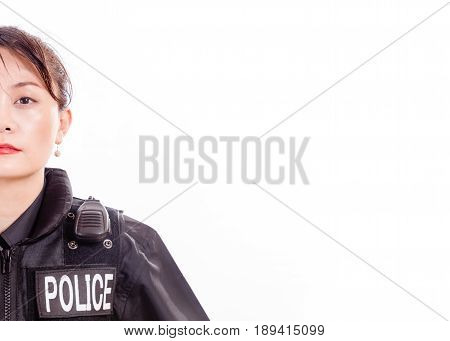 Chinese Female Police Officer, Half Face