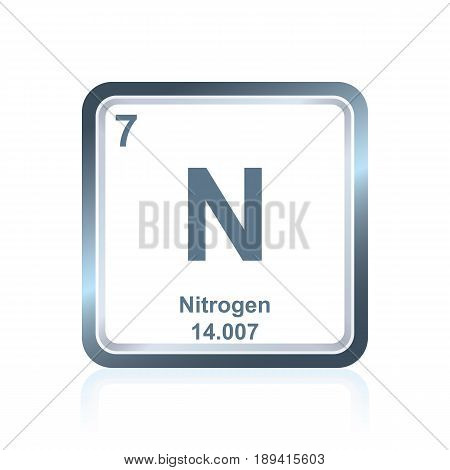 Symbol of chemical element nitrogen as seen on the Periodic Table of the Elements, including atomic number and atomic weight.