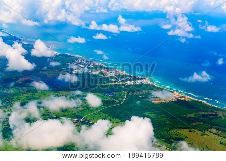 View from airplane above Haiti island, Dominican Republic.