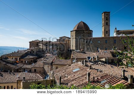 Volterra, Tuscany - May 21, 2017 - Beautiful Medieval Town In Tuscany