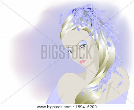 Fairy light albino girl, Snow Queen. EPS10 vector illustration.