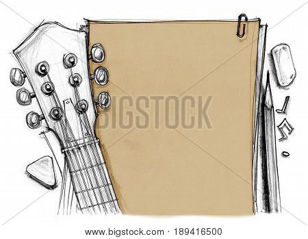 Background book rubber pencil note with guitar crop at headstock tuning pegs fret finger and pick Hand drawn rough sketch design art retro style isolate for your background.