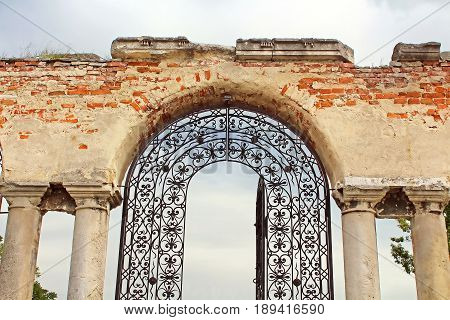 Old forged gate to armenian church, Kamianets-Podilskyi, Ukraine