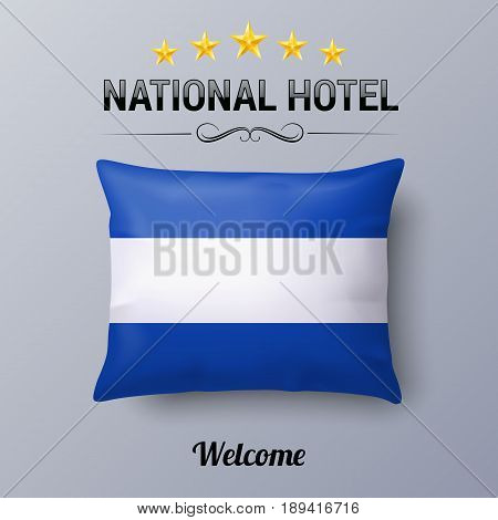 Realistic Pillow and Flag of El Salvador as Symbol National Hotel. Flag Pillow Cover with Salvadoran flag