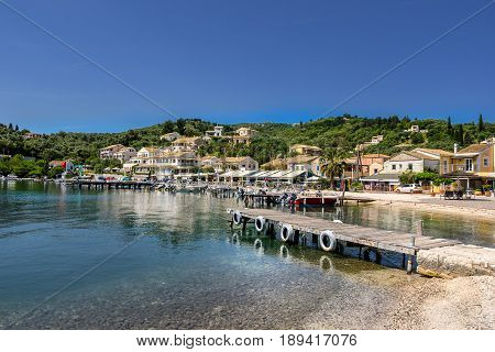 Agios Stefanos a small tourist resort on the north east coast of Corfu in Greece