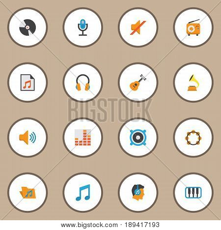 Multimedia Flat Icons Set. Collection Of Tone, Acoustic, Ear Muffs And Other Elements. Also Includes Symbols Such As Samba, Listen, Guitar.