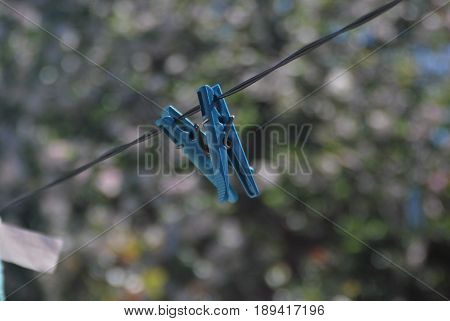 Clothes Line Rope Clothes Pins Blue Sky