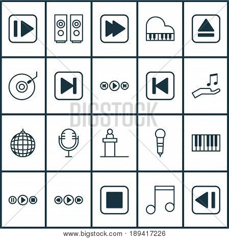 Multimedia Icons Set. Collection Of Following Music, Following Song, Last Song And Other Elements. Also Includes Symbols Such As Keyboard, Control, Microphone.