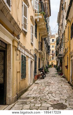 Typical street in Corfu Town in Greece