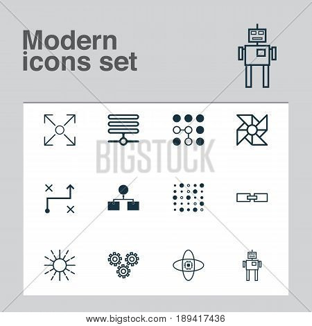 Machine Learning Icons Set. Collection Of Atomic Cpu, Analysis Diagram, Branching Program And Other Elements. Also Includes Symbols Such As Design, Machine, Information.