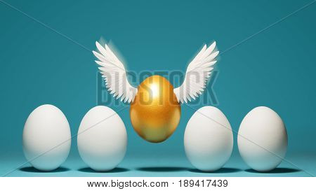 Concept of individuality exclusivity better choice. Golden egg takes off waving its wings among white eggs on blue background.