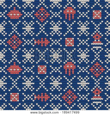 Grandma vector knitting seamless pattern for Ugly Sweater. Sea theme