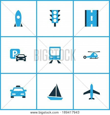 Transport Colorful Icons Set. Collection Of Parking, Stoplight, Plane And Other Elements. Also Includes Symbols Such As Carriage, Carrier, Copter.