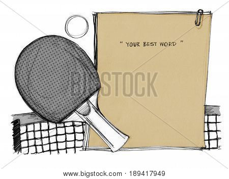 Pingpong background paper note brown color hand drawn Concept idea and design for note notice board or presentation Art on isolate.