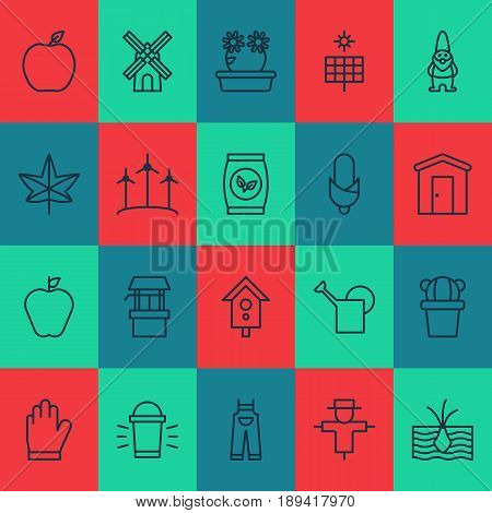 Garden Icons Set. Collection Of Maize, Taste Apple, Bailer And Other Elements. Also Includes Symbols Such As Lamp, Bailer, Can.