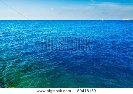 intense blue turquoise and emerald mediterranean sea
