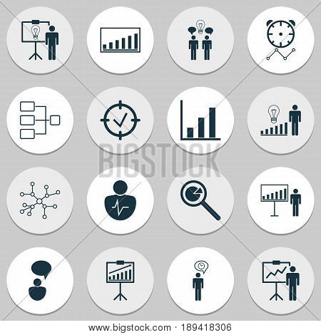 Executive Icons Set. Collection Of Report Demonstration, Co-Working, Reminder And Other Elements. Also Includes Symbols Such As Project, Opinion, Manage.