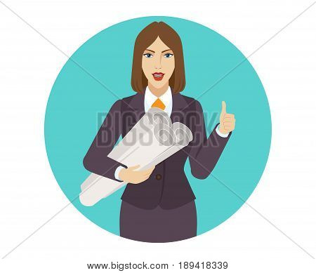 Businesswoman holding the project plans and showing thumb up. Portrait of businesswoman in a flat style. Vector illustration.