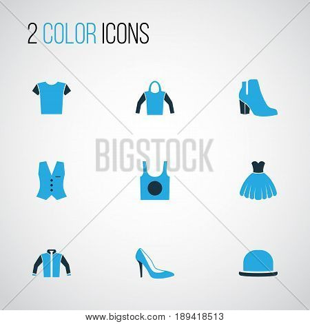 Garment Colorful Icons Set. Collection Of Jacket, Heels, Underwear And Other Elements. Also Includes Symbols Such As Singlet, Sweatshirt, Vest.