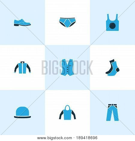 Garment Colorful Icons Set. Collection Of Sweatshirt, Trousers, Man Footwear And Other Elements. Also Includes Symbols Such As Boots, Half-Hose, Vest.