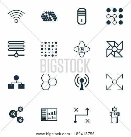 Robotics Icons Set. Collection Of Algorithm Illustration, Computing Problems, Analysis Diagram And Other Elements. Also Includes Symbols Such As Wifi, Mainframe, Diagram.