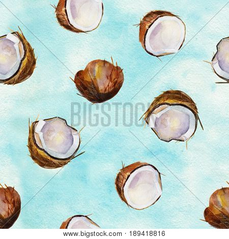 Watercolor seamless pattern with coconuts. Watercolor illustration on artistic watercolor background.