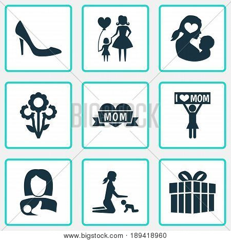 Mothers Day Icon Design Concept. Set Of 9 Such Elements As Loving, Protect And Stiletto. Beautiful Symbols For Child, I And Mom.