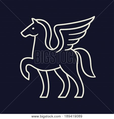 Pegasus logo or line icon. Stylized winged horse outline vector illustration.