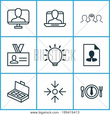 Corporate Icons Set. Collection Of Great Glimpse, Business Aim, Authentication And Other Elements. Also Includes Symbols Such As Identity, Mentoring, Mark.