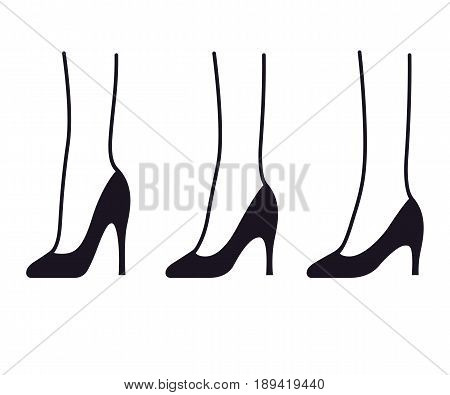 Set of high heel stiletto shoes with different heel height. Womens fashion infographic illustration.
