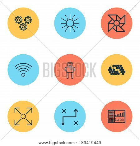 Artificial Intelligence Icons Set. Collection Of Controlling Board, Branching Program, Solution And Other Elements. Also Includes Symbols Such As Hive, Arrow, Data.